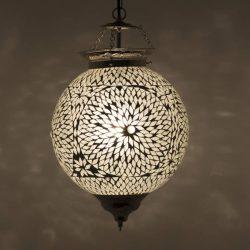 hanglamp wit mozaiek transparant oosters in het donker