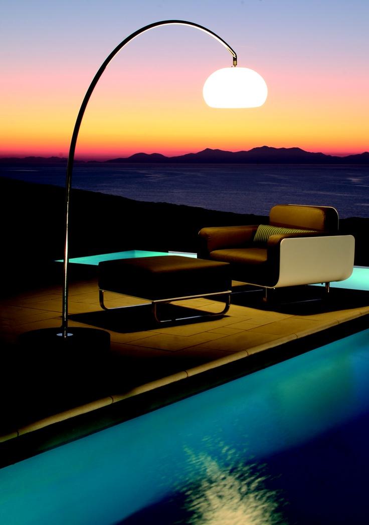 modern booglamp buiten terras