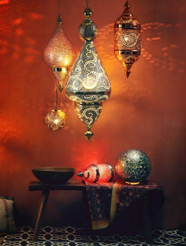 orientaalse lamp inspiratie rood en blauw